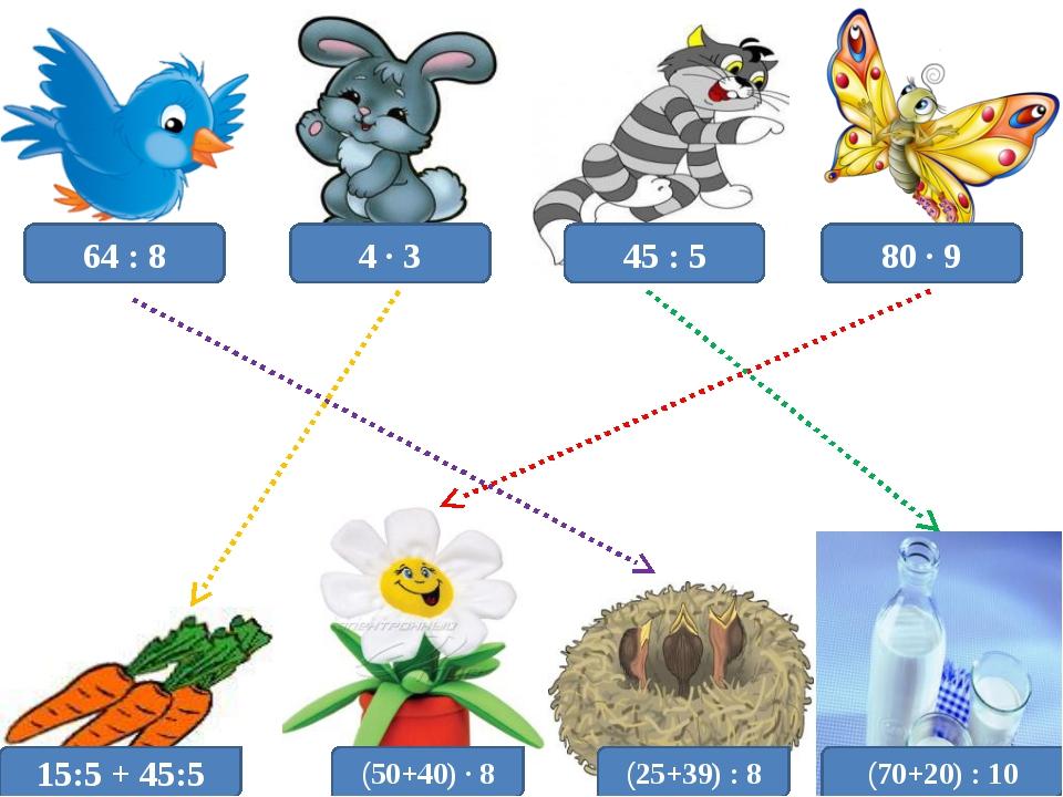 64 : 8 4 · 3 45 : 5 80 · 9 15:5 + 45:5 (50+40) · 8 (25+39) : 8 (70+20) : 10