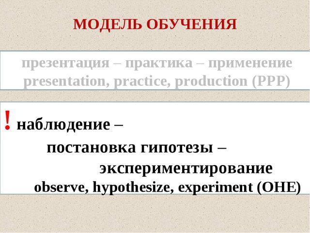 МОДЕЛЬ ОБУЧЕНИЯ ! наблюдение – постановка гипотезы – экспериментировани...