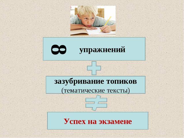упражнений зазубривание топиков (тематические тексты) Успех на экзамене 8