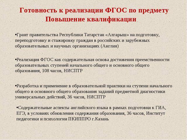 Готовность к реализации ФГОС по предмету Грант правительства Республики Татар...