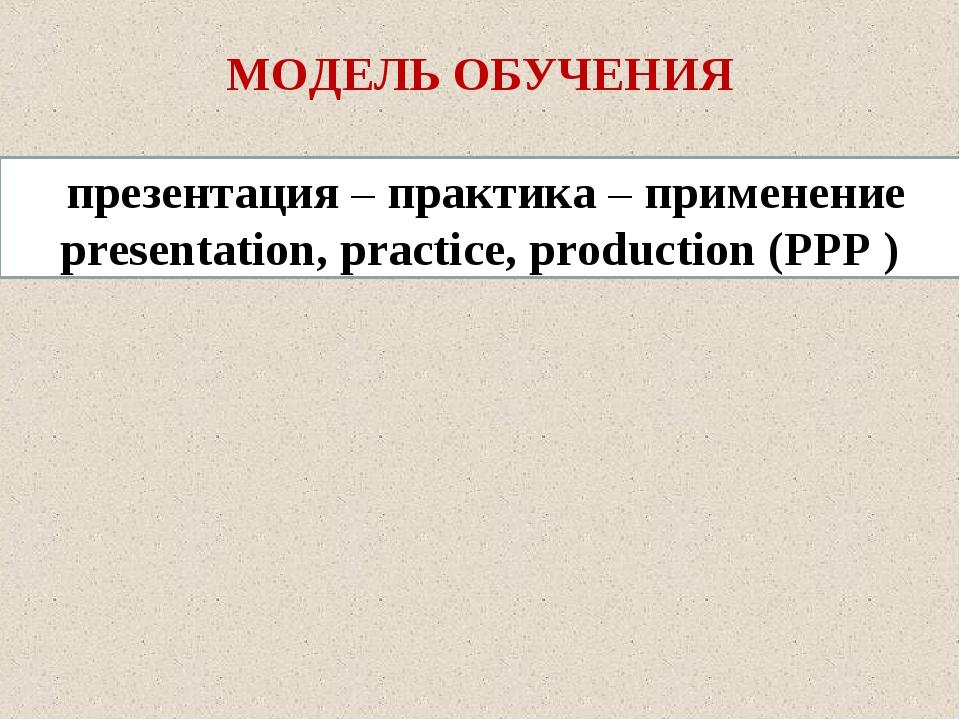 МОДЕЛЬ ОБУЧЕНИЯ презентация – практика – применение presentation, practice, p...