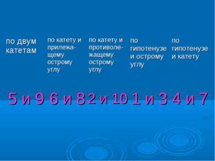 5 и 9 2 и 10 6 и 8 1 и 3 4 и 7 по двум катетампо катету и прилежа-щему остро