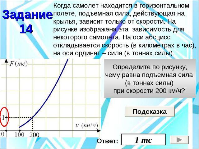 Определите по рисунку, чему равна подъемная сила (в тоннах силы) при скорости...