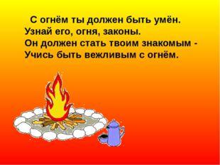 С огнём ты должен быть умён. Узнай его, огня, законы. Он должен стать твоим