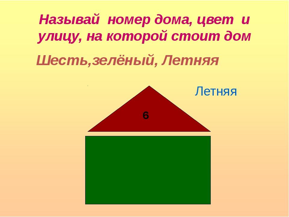 Называй номер дома, цвет и улицу, на которой стоит дом 6 Летняя Шесть,зелёный...