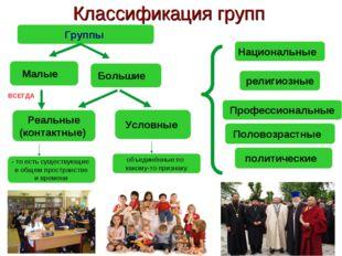 * Классификация групп Группы религиозные Профессиональные Национальные Больши