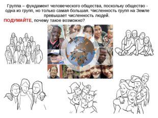 Группа – фундамент человеческого общества, поскольку общество - одна из групп