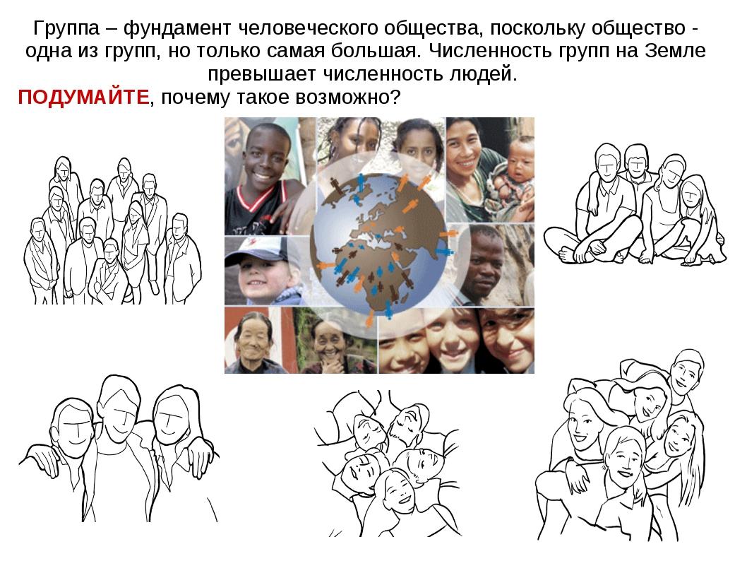 Группа – фундамент человеческого общества, поскольку общество - одна из групп...
