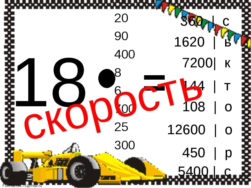18 20 90 400 8 6 700 25 300 = 360 | с 1620 | ь 7200| к 144 | т 108 | о 12600...