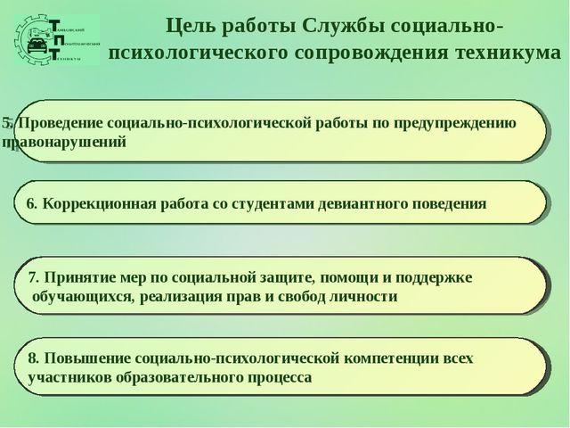 Цель работы Службы социально-психологического сопровождения техникума 5. Пров...
