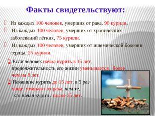 Из каждых 100 человек, умерших от рака, 90 курили. Из каждых 100 человек, уме