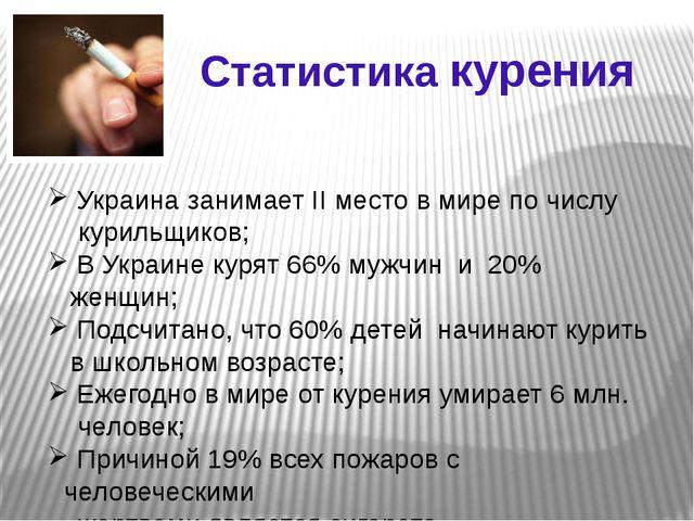 Статистика курения Украина занимает II место в мире по числу курильщиков; В У...