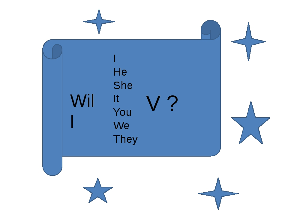 I He She It You We They V ? Will