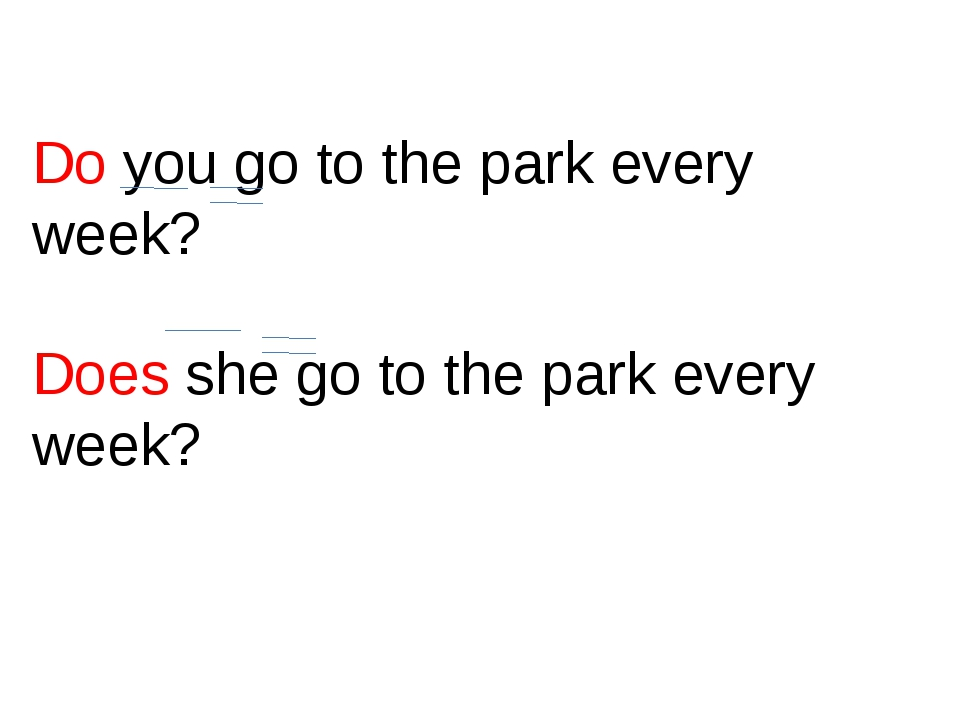 Do you go to the park every week? Does she go to the park every week?