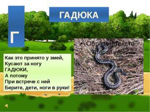 ГАДЮКА Как это принято у змей, Кусают за ногу ГАДЮКИ, А потому При встрече с