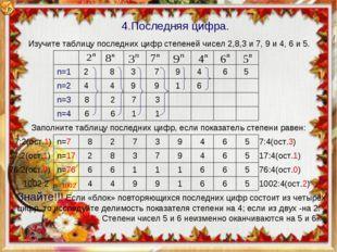 n=1 n=2 n=3 n=4 2 8 3 7 9 4 6 5 4 4 9 9 1 6 8 2 7 3 6 6 1 1 Изучите таблицу п