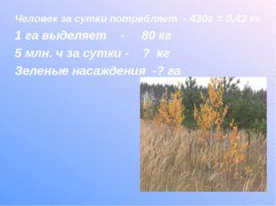 Человек за сутки потребляет - 430г = 0,43 кг 1 га выделяет - 80 кг 5 млн. ч з