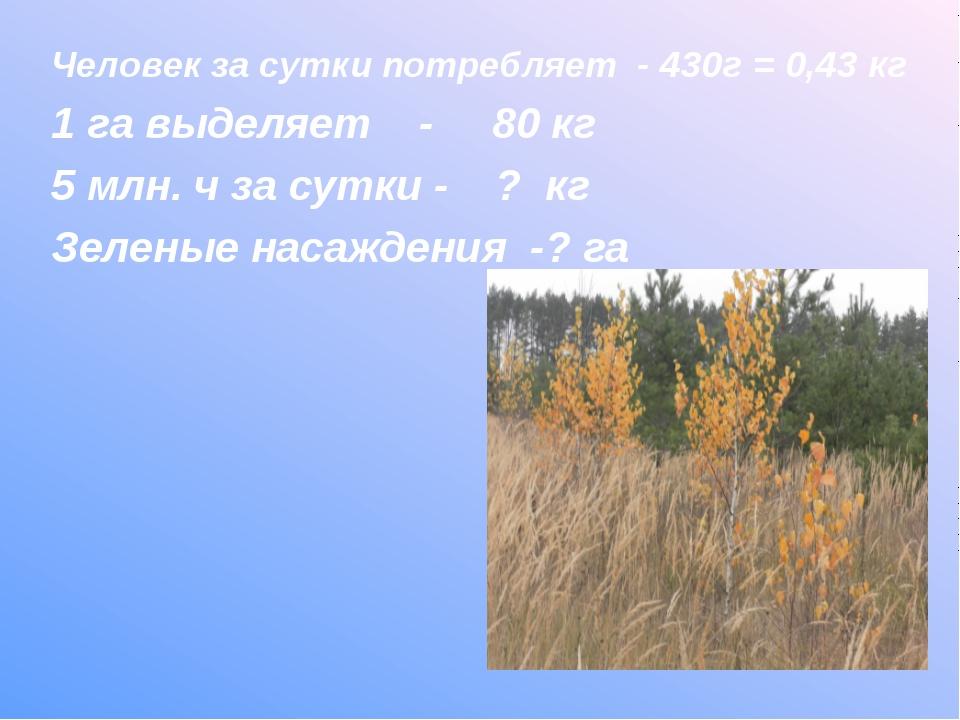 Человек за сутки потребляет - 430г = 0,43 кг 1 га выделяет - 80 кг 5 млн. ч з...