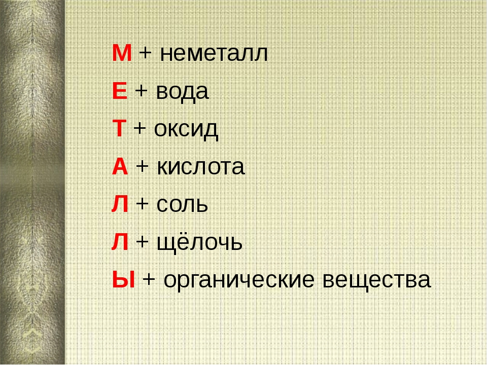 М + неметалл М + неметалл Е + вода Т + оксид А + кислота Л + соль Л + щ...