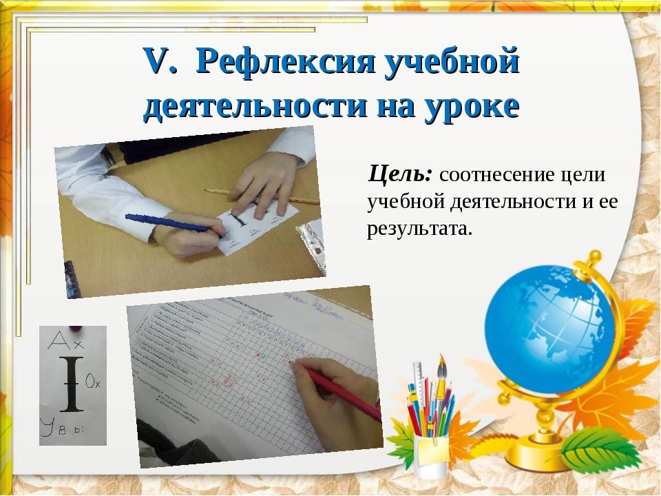 V. Рефлексия учебной деятельности на уроке  Цель: соотнесение цели учебной...