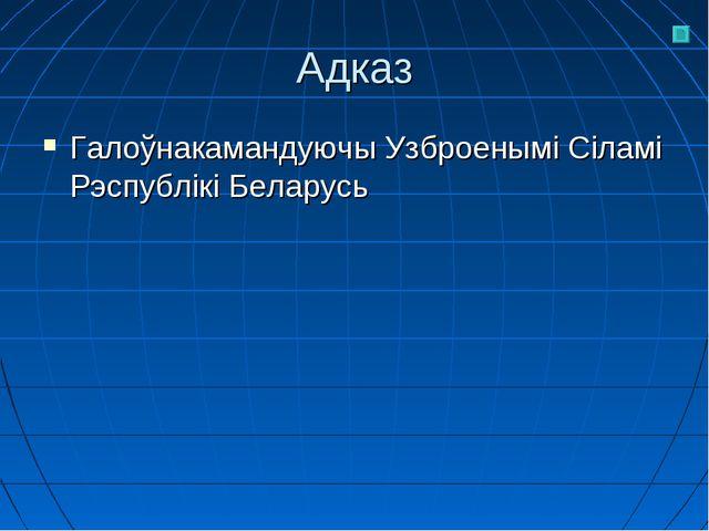 Адказ Галоўнакамандуючы Узброенымі Сіламі Рэспублікі Беларусь
