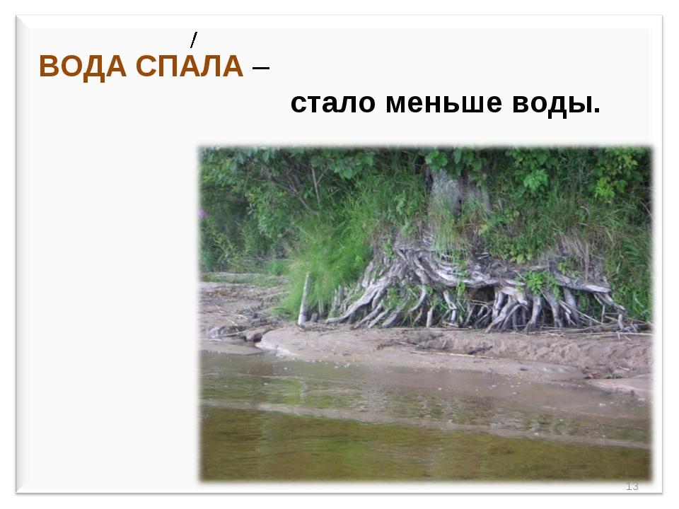 ВОДА СПАЛА – стало меньше воды. *