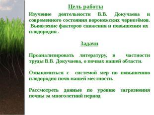 Цель работы Изучение деятельности В.В. Докучаева и современного состояния вор