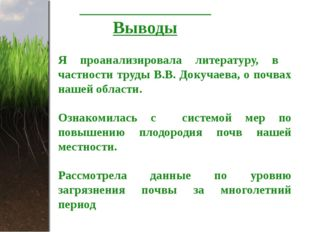 Выводы Я проанализировала литературу, в частности труды В.В. Докучаева, о по