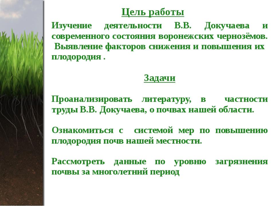 Цель работы Изучение деятельности В.В. Докучаева и современного состояния вор...