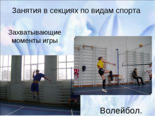 Занятия в секциях по видам спорта Волейбол. Захватывающие моменты игры