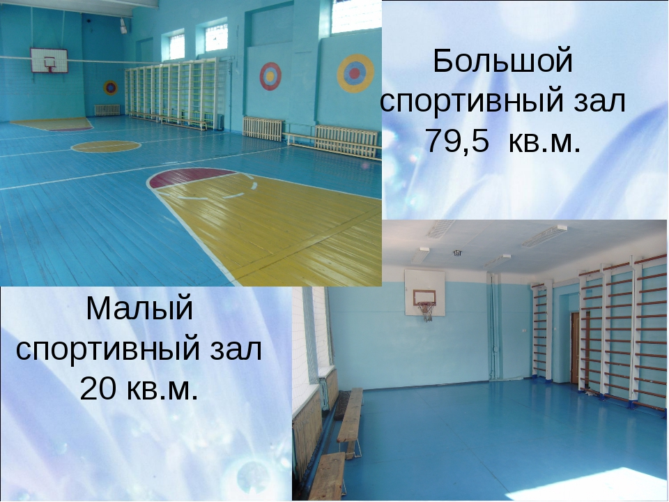 Большой спортивный зал 79,5 кв.м. Малый спортивный зал 20 кв.м.