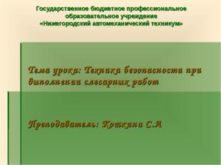 Государственное бюджетное профессиональное образовательное учреждение «Нижего