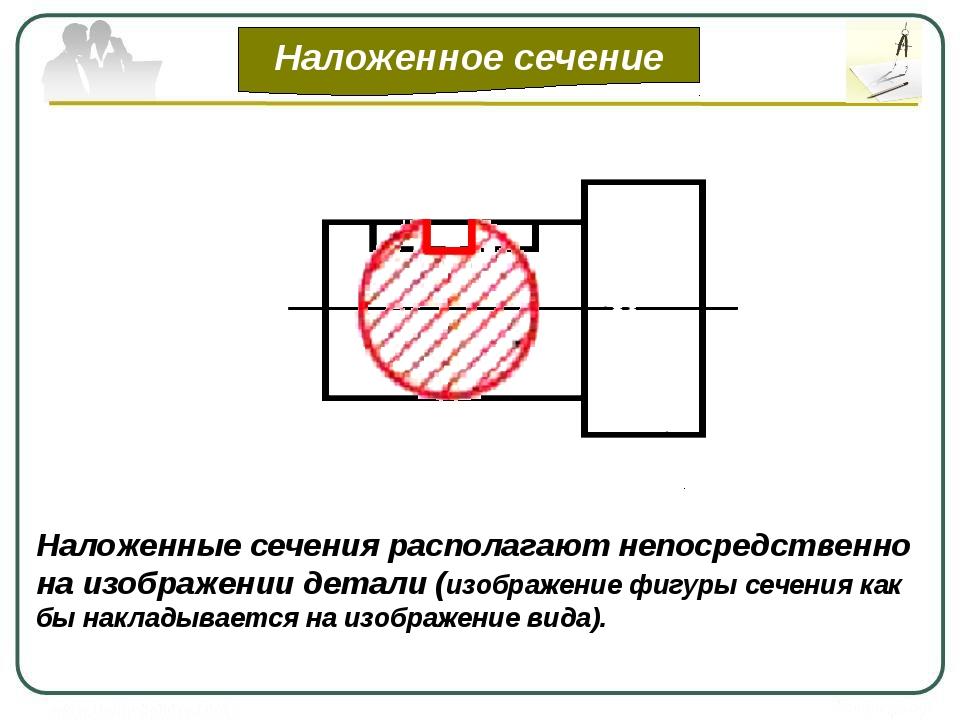 Наложенное сечение Наложенные сечения располагают непосредственно на изображ...