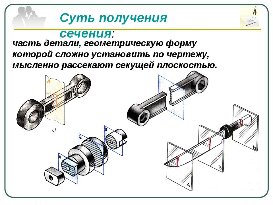 Суть получения сечения: часть детали, геометрическую форму которой сложно уст...