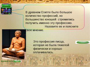 Игровое поле В древнем Египте было большое количество профессий, но большинст