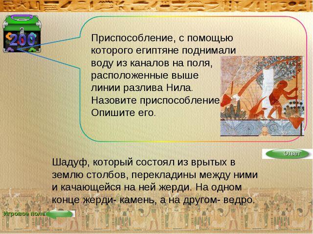 Игровое поле Приспособление, с помощью которого египтяне поднимали воду из ка...