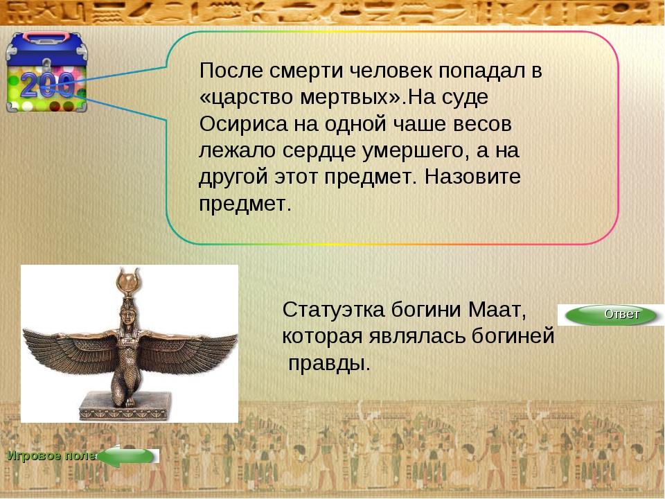 Игровое поле После смерти человек попадал в «царство мертвых».На суде Осириса...