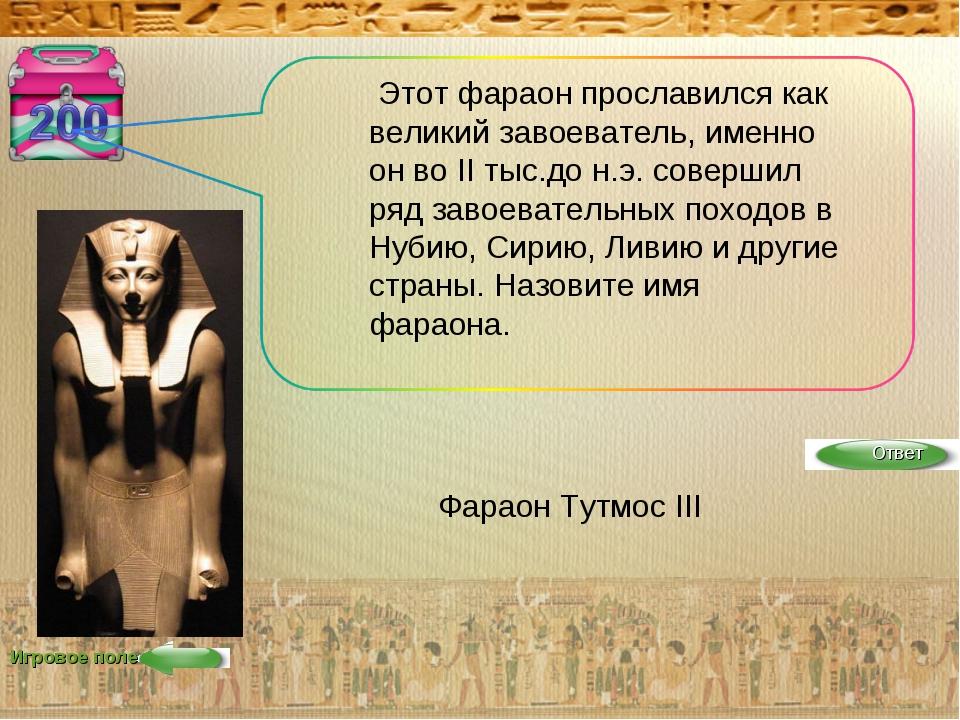 Игровое поле Этот фараон прославился как великий завоеватель, именно он во II...