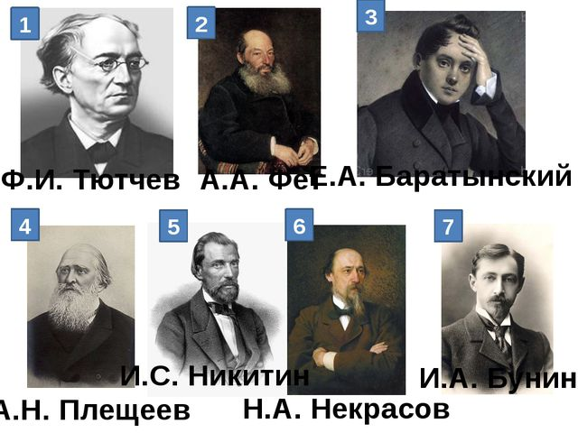 1 2 3 4 5 6 7 Ф.И. Тютчев А.А. Фет Е.А. Баратынский А.Н. Плещеев И.С. Никитин...