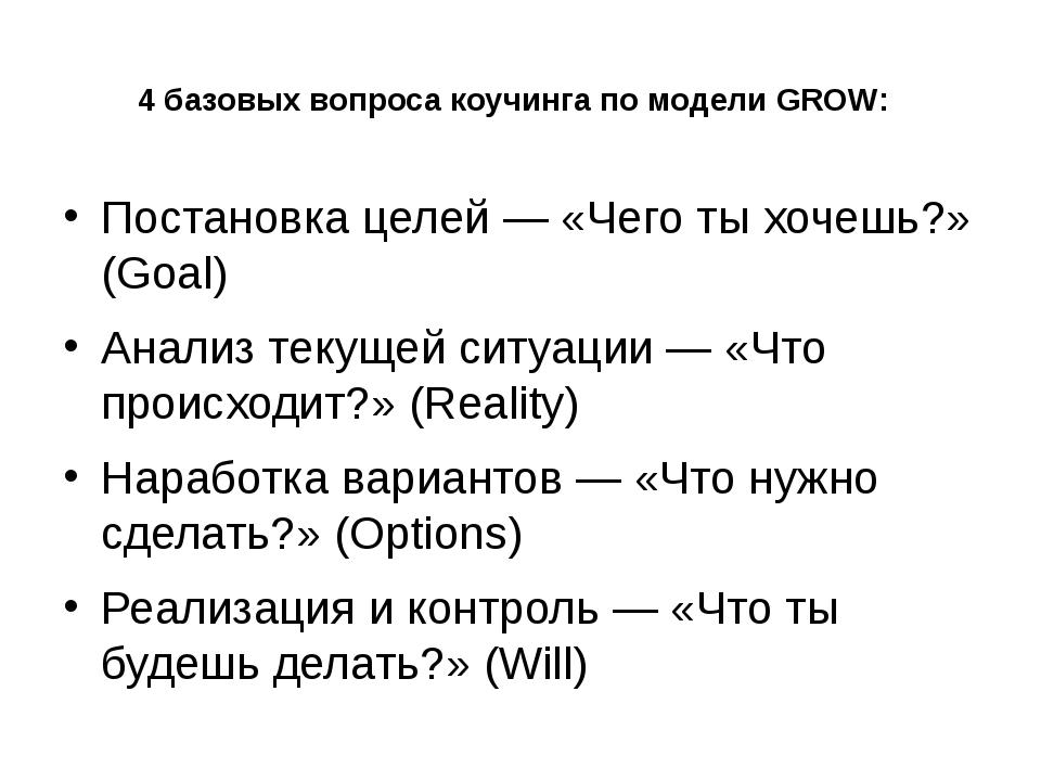 4 базовых вопроса коучинга по модели GROW: Постановка целей — «Чего ты хочешь...