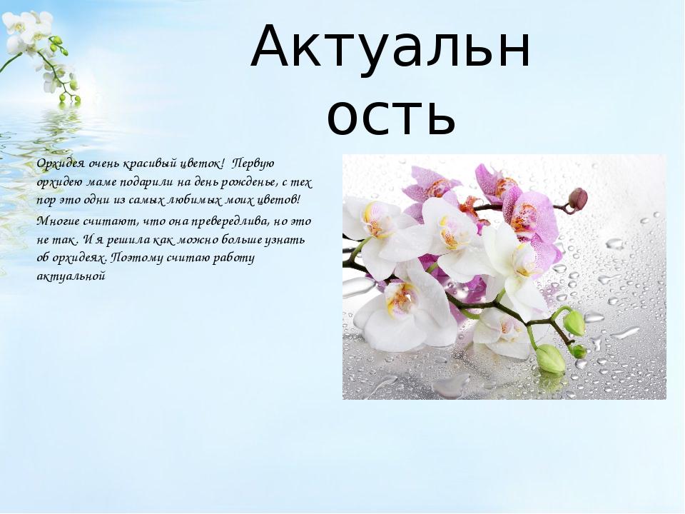 Актуальность Орхидея очень красивый цветок! Первую орхидею маме подарили на...