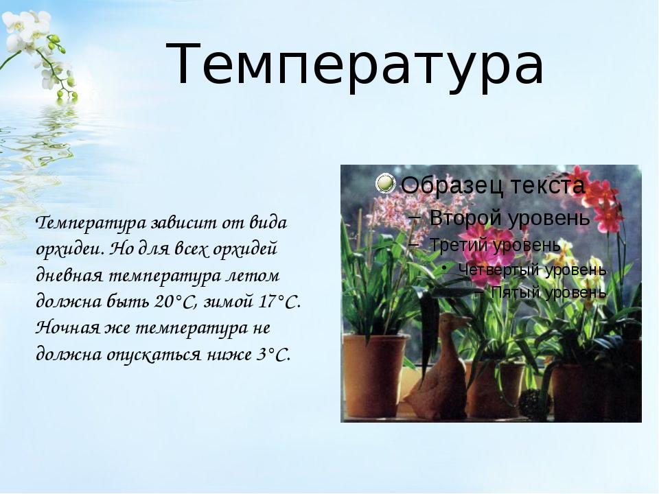 Температура Температура зависит от вида орхидеи. Но для всех орхидей дневная...