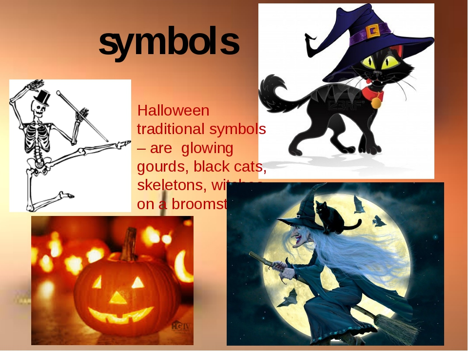 2 Halloween traditional symbols – are glowing gourds, black cats, skeletons,...