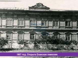 1907 год. Открыта Еланская гимназия.