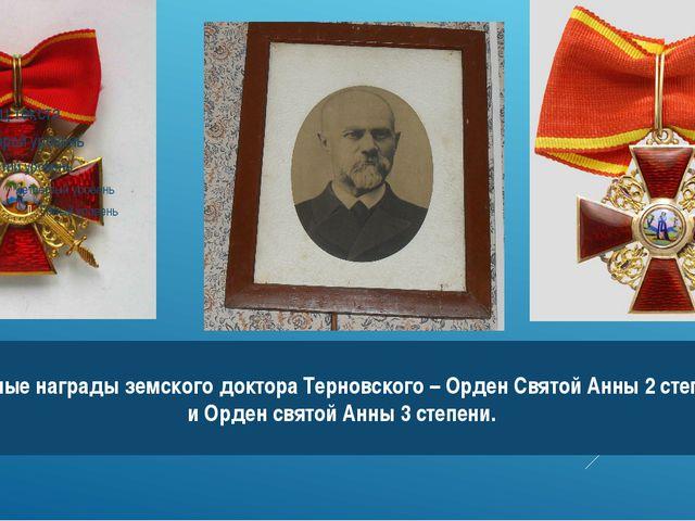 Главные награды земского доктора Терновского – Орден Святой Анны 2 степени и...