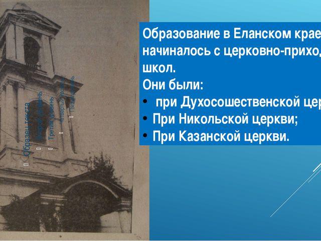 Образование в Еланском крае начиналось с церковно-приходских школ. Они были:...