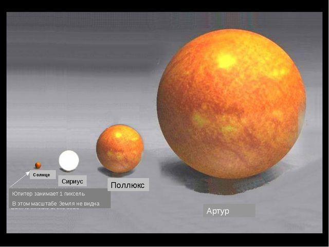 Солнце Сириус Артур Юпитер занимает 1 пиксель В этом масштабе Земля не видна...