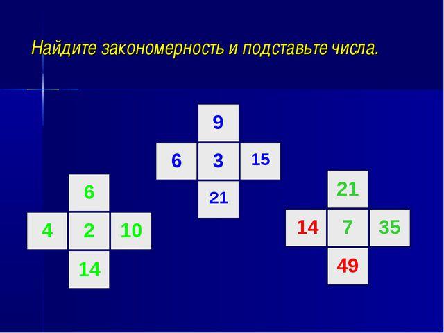 Найдите закономерность и подставьте числа. 6 2 10 14 4 9 3 15 21 6 21 7 35 1...