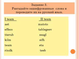 Задание 3. Разгадайте зашифрованные слова и переведите их на русский язык. I