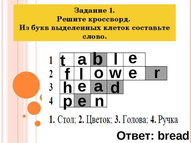 Задание 1. Решите кроссворд. Из букв выделенных клеток составьте слово. t a b...